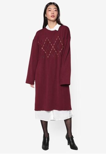 韓系時尚Argyle 針織長袖連身裙, 服飾,zalora 心得 洋裝