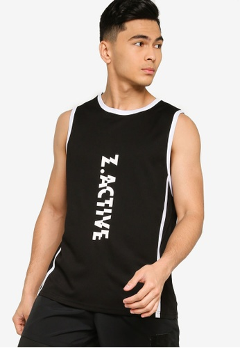 ZALORA ACTIVE black Active Contrast Trim Muscle Tank Top BB908AA1FAE6F1GS_1