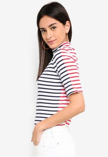 ESPRIT navy Stripe Ribbed T-Shirt 03738AAE2774D6GS_1