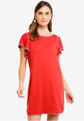Max Studio red Soft French Terry Embroidered Detail Dress C42DEAA137B9EFGS_1