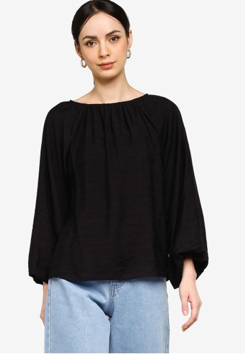 ZALIA BASICS 黑色 Textured Blouse B1F43AA8F14D29GS_1