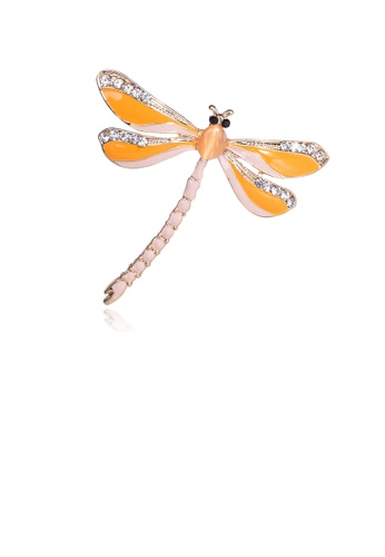 Glamorousky white Simple and Fashion Yellow Dragonfly Brooch with Cubic Zirconia 1CFEAACF257990GS_1