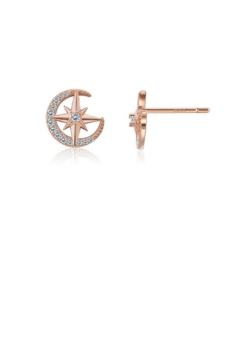 Glamorousky white Sparkling Plated Rose Gold Star Stud Earrings with Austrian Element Crystal 2962BAC75B8366GS_1