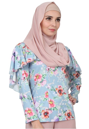 POPLOOK blue Ellexia Cape Blouse 9ACCBAA6958DF7GS_1