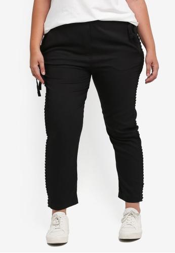 ELVI black Plus Size Black Ruffle Trousers EL779AA0T1PFMY_1
