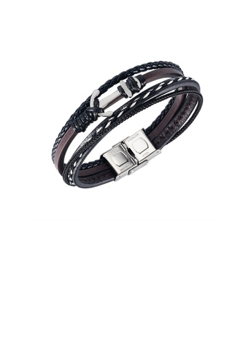 Glamorousky silver Fashion Personality 316L Stainless Steel Anchor Multi-layer Leather Bracelet E5615AC3285033GS_1