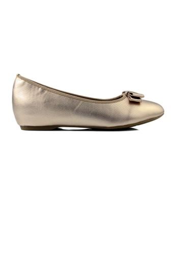 SHINE beige Shining Round Toe Bow Hidden Heels Flats 4EED5SHDD3405EGS_1