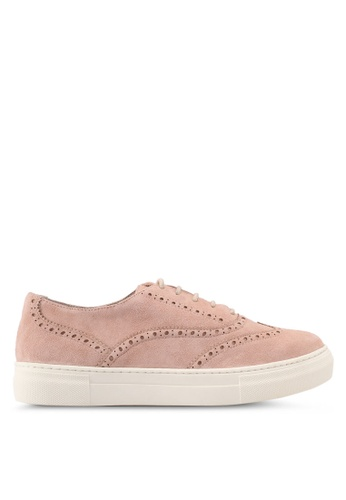 Dune London 粉紅色 雕花麂皮休閒鞋 DU588SH0SZS0MY_1