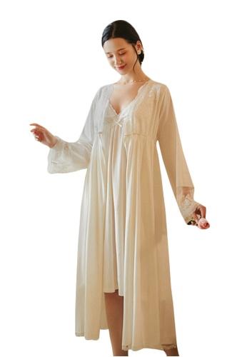 LYCKA white LML1281-Lady Lace Pajamas Two Pieces Set-White F1236AA3B49050GS_1