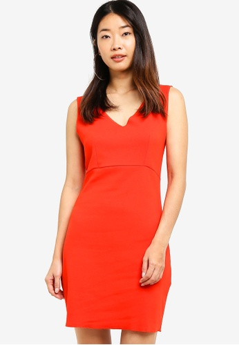 Something Borrowed red Bodycon V-Neck Dress CC47FAA6AAF1E9GS_1