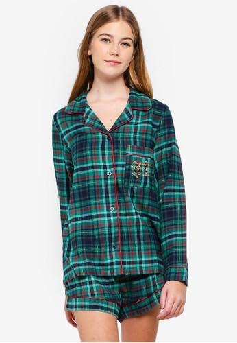 Chelsea Peers green Sparkly Check Pyjama Set 23334AAD127ED5GS_1