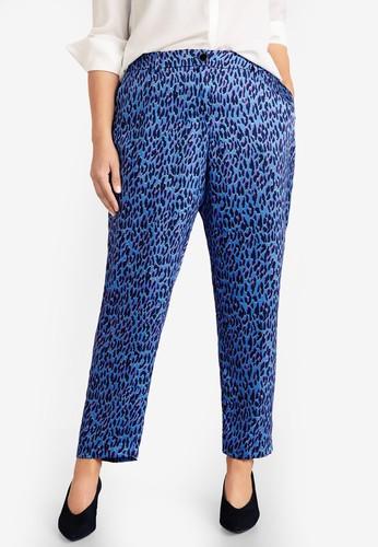Violeta by MANGO blue Plus Size Flowy Printed Trousers E7097AAD990991GS_1