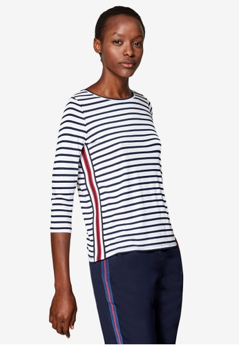 ESPRIT white Jersey Top With Tuxedo Stripes B6F5DAAEF04BD8GS_1