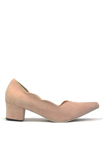 KASOOT beige Kasoot Plus Size Scallop Heels Beige 4133BSH93753EFGS_1