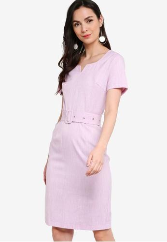 ZALORA WORK purple Notch Neck Sheath Dress AA43DAABD03A33GS_1