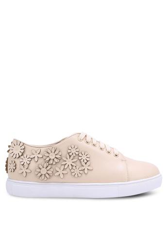 Velvet beige Floral Cut Out Sneakers F1D50SH83E76B6GS_1