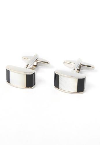 Splice Cufflinks black and white Black & White Curved Cufflinks SP744AC98CPLSG_1