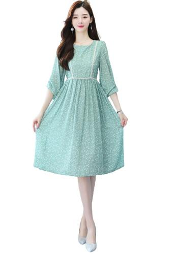 Halo green Floral Printed Chiffon Dress C8649AADB5F19BGS_1