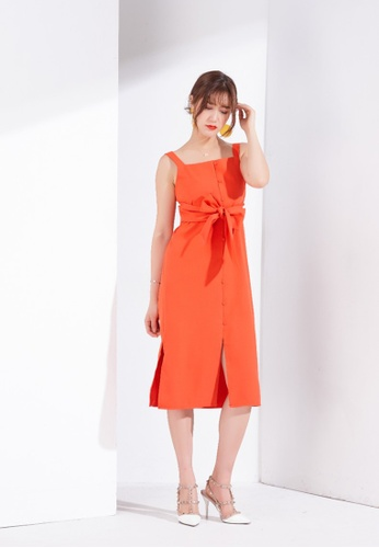 Zafiti red Sleeveless Dress With Belt 95555AAD48C30EGS_1