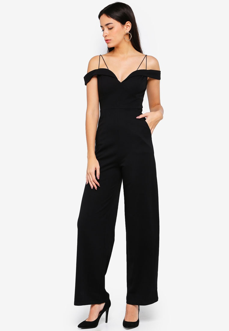 Shoulder Paris The Black Off AX Jumpsuit Strappy IxTznf