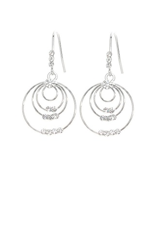 Glamorousky silver Triple Circle Earrings with Silver Austrian Element Crystals F018AACC3A6E46GS_1