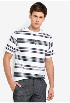656f6633f River Island white Stripe Maison Riviera Slim Fit T-Shirt DE963AA44A92CCGS_1