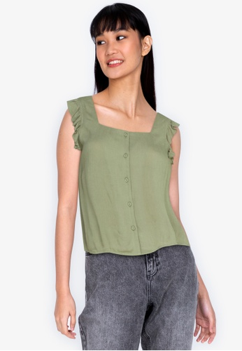 ZALORA BASICS brown Flutter Sleeves Square Neck Top 357FEAA9B9D24CGS_1