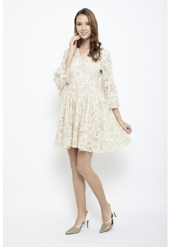 Sophialuv white Lace Be Honest Babydoll Bell Sleeves Dress in Cream 004EFAA801CB95GS_1