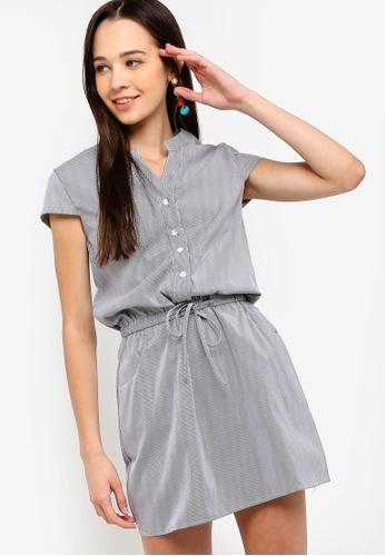 Something Borrowed black Waist Tie Button Down Shirt Dress 963D3AA8CE9600GS_1