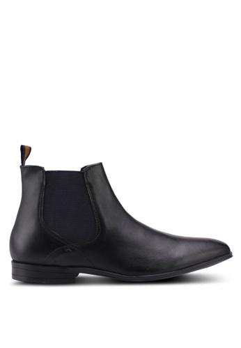 Burton Menswear London black Black Leather Chelsea Boots C3A2FSH81B3DD9GS_1