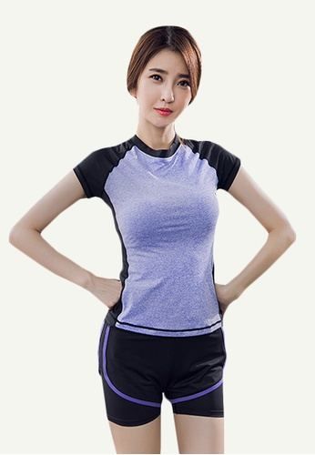 B-Code blue ZYG5156-Lady Quick Drying Running Fitness Yoga Sports Top and Leggings Two Pieces Set-Blue 80835AA4EA1AFEGS_1
