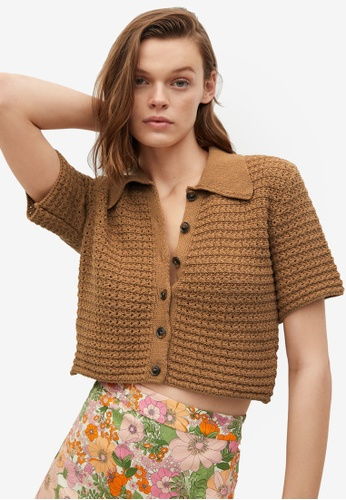 Mango brown Openwork Knit Top DEE49AA76A649AGS_1