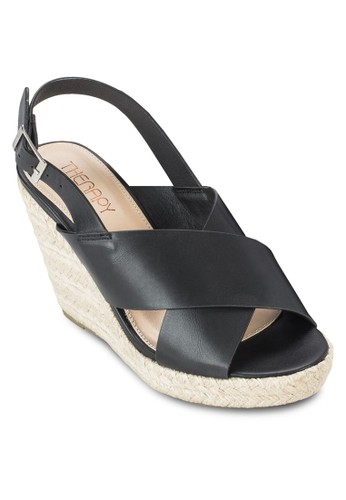 Poresprit衣服目錄tia 交叉繞踝麻編楔型鞋, 女鞋, 鞋