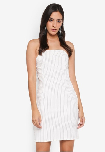MISSGUIDED white MB x MG Pinstripe Bandeau Bodycon Dress E15C6AA88FB418GS_1