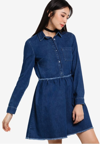 Miss Selfridge blue Blue Gathered Waist Shirt Dress MI665AA90RZXMY_1
