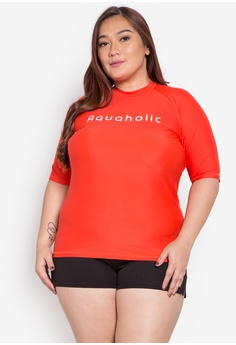 62247a17f62 Aquaholic red Jana Plus Size Short Sleeve Raglan Rash Guard AQ609AA0KBBDPH 1