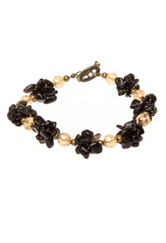 Onyx Cluster Bracelet with Antique-Colored Clasp