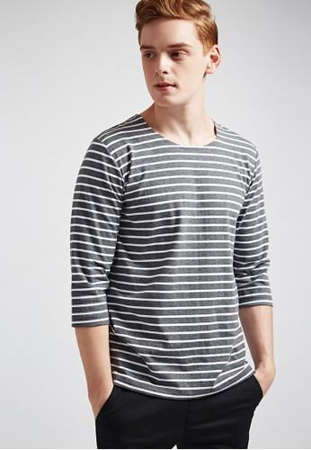 簡約休閒。條紋棉質。七分袖藍標圓領T-03esprit outlet 香港628-灰色, 服飾, 條紋T恤