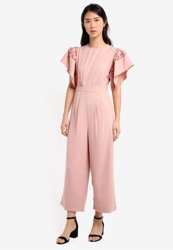 ZALORA pink Ruffle Sleeve Jumpsuit 188EDAA88865D5GS_1