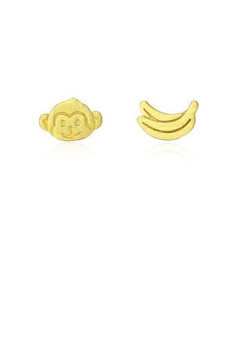 Glamorousky silver 925 Sterling Silver Plated Gold Simple Cute Monkey Banana Asymmetric Stud Earrings 1E520AC51C4D73GS_1