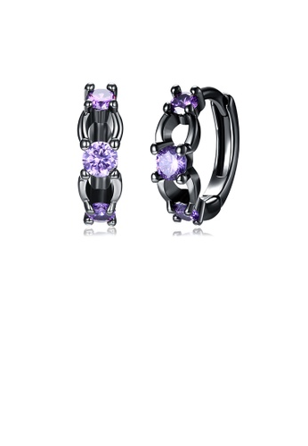 Glamorousky purple Fashion Elegant Geometric Earrings with Purple Cubic Zircon 8D53EAC76008E9GS_1