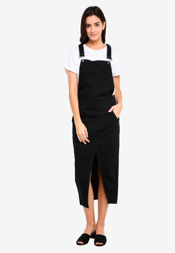 ZALORA black Denim Dungaree Dress 76CACAA9FB8D30GS_1