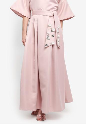 Zalia pink Embellished Belt Flare Skirt 03CB4AA29AA7F1GS_1