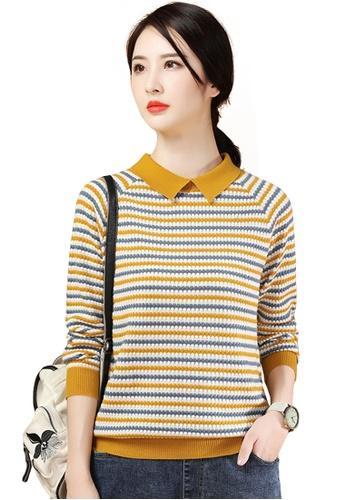 A-IN GIRLS multi Fashion Striped Doll Collar Sweater 6804DAA3245DD9GS_1