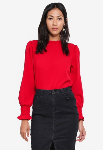 Dorothy Perkins red Red Shirred Cuff Top 944A6AA3B670B2GS_1