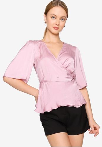 ZALORA WORK pink Satin Wrap Top 1EE60AAE60BEB6GS_1