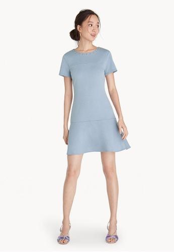 Pomelo blue Beaded Neck Ruffle Dress - Blue 5689EAA5DE3547GS_1