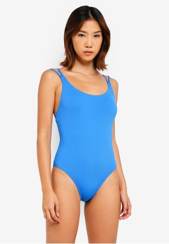 Cotton On Body blue Flo Double Strap One Piece Cheeky Swimsuit 76E6FUSCD35624GS_1