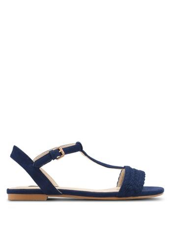ZALORA navy Braided Flat Sandals B4811SH18C3717GS_1