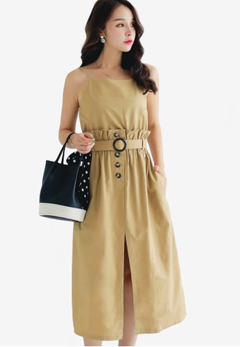 Shopsfashion beige Sleeveless Midi Dress 6435AAA2A9CB03GS_1